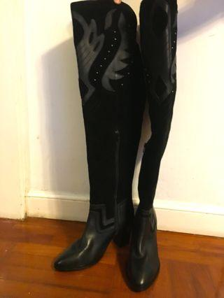 Nastygal suede & leather long boots