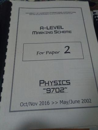 A-LEVEL PHYSICS PAPER 2 MARKING SCHEME ON16-MJ02