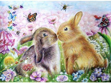Bunnies 2 - DIY Painting By Numbering (Unframed)