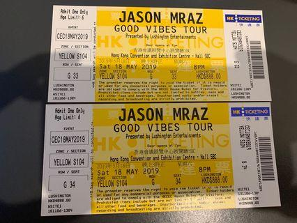 Jason Mraz good vibes tours tickets 18th May (discounted)