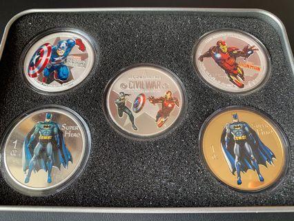 美國隊長 Ironman Batman 鍍銀 紀念幣