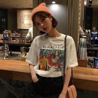 👒韓版復古人物塗鴉短袖T恤 白色/藍色 寬鬆短袖上衣百搭大學T女孩彈吉他 半袖女裝上衣試衣