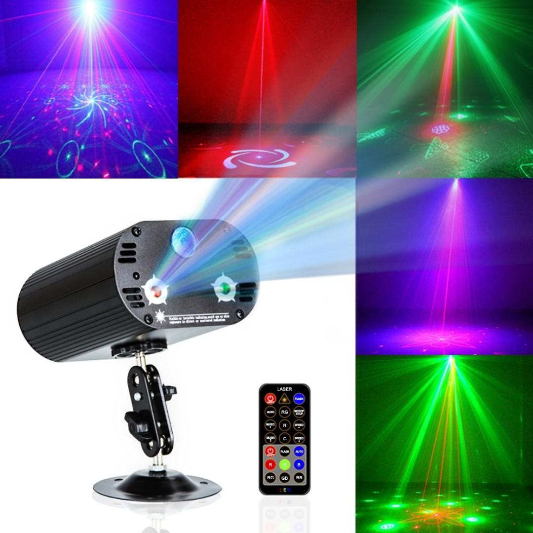 2629 Party Lights DJ Disco Light RGB 3 Lens 36 Patterns Projector GOOLIGHT Mini LED Strobe Sound Activated Stage Lights Indoor for Birthday Parties