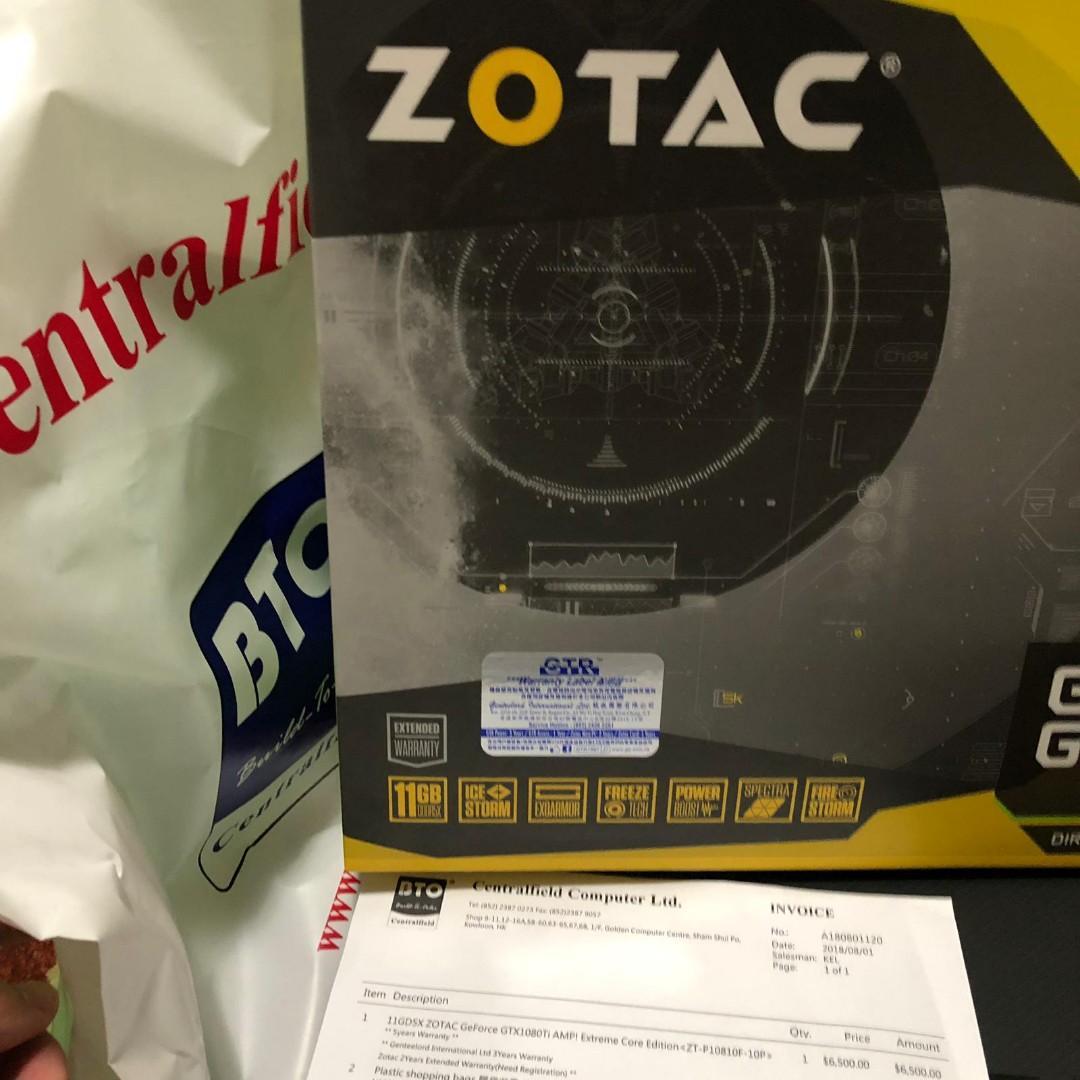 齊單齊盒 放1080TI ZOTAC Geforce GTX 1080 TI AMP Extreme 購自Centralfield