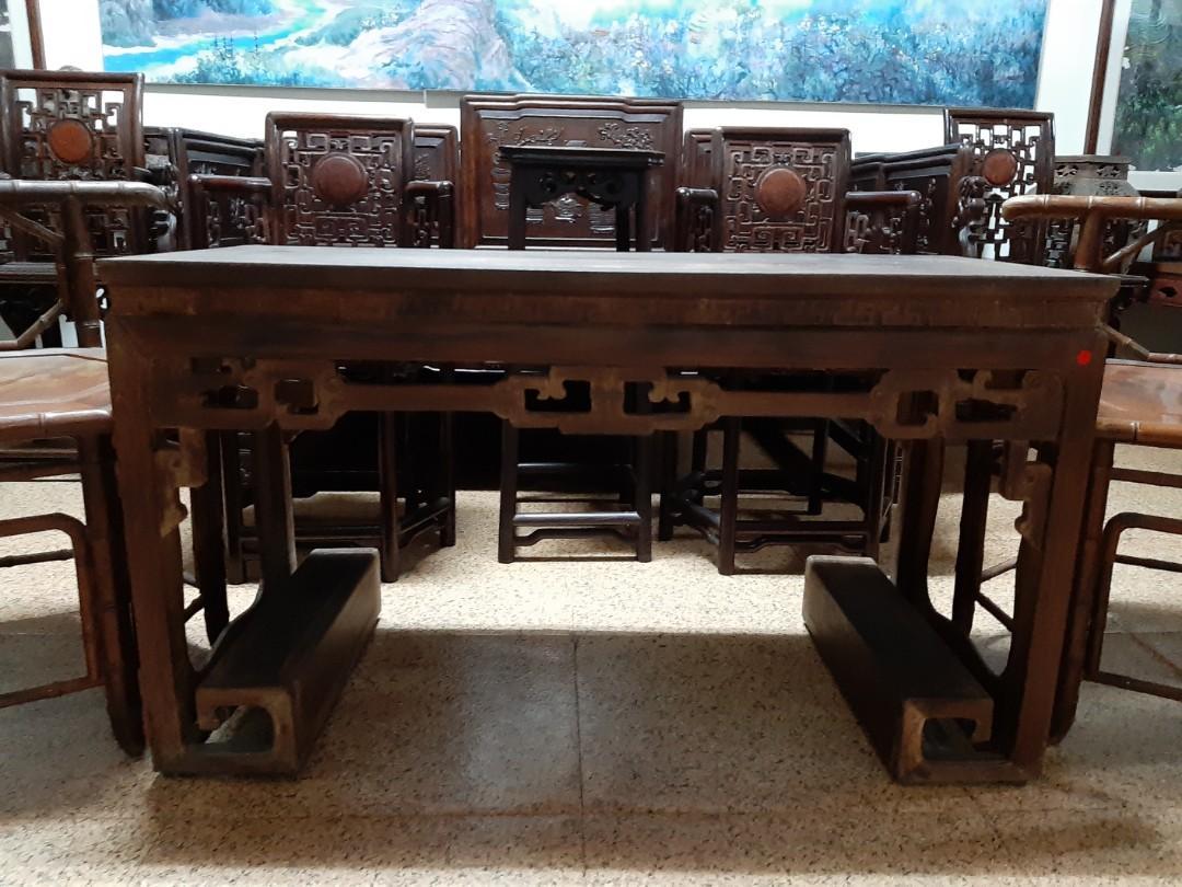 早期實木硬木長形桌琴桌子書卷造型優美