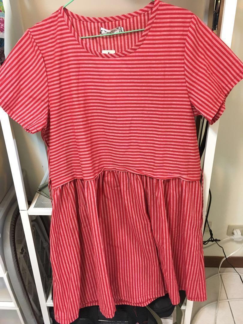 紅色條紋洋裝