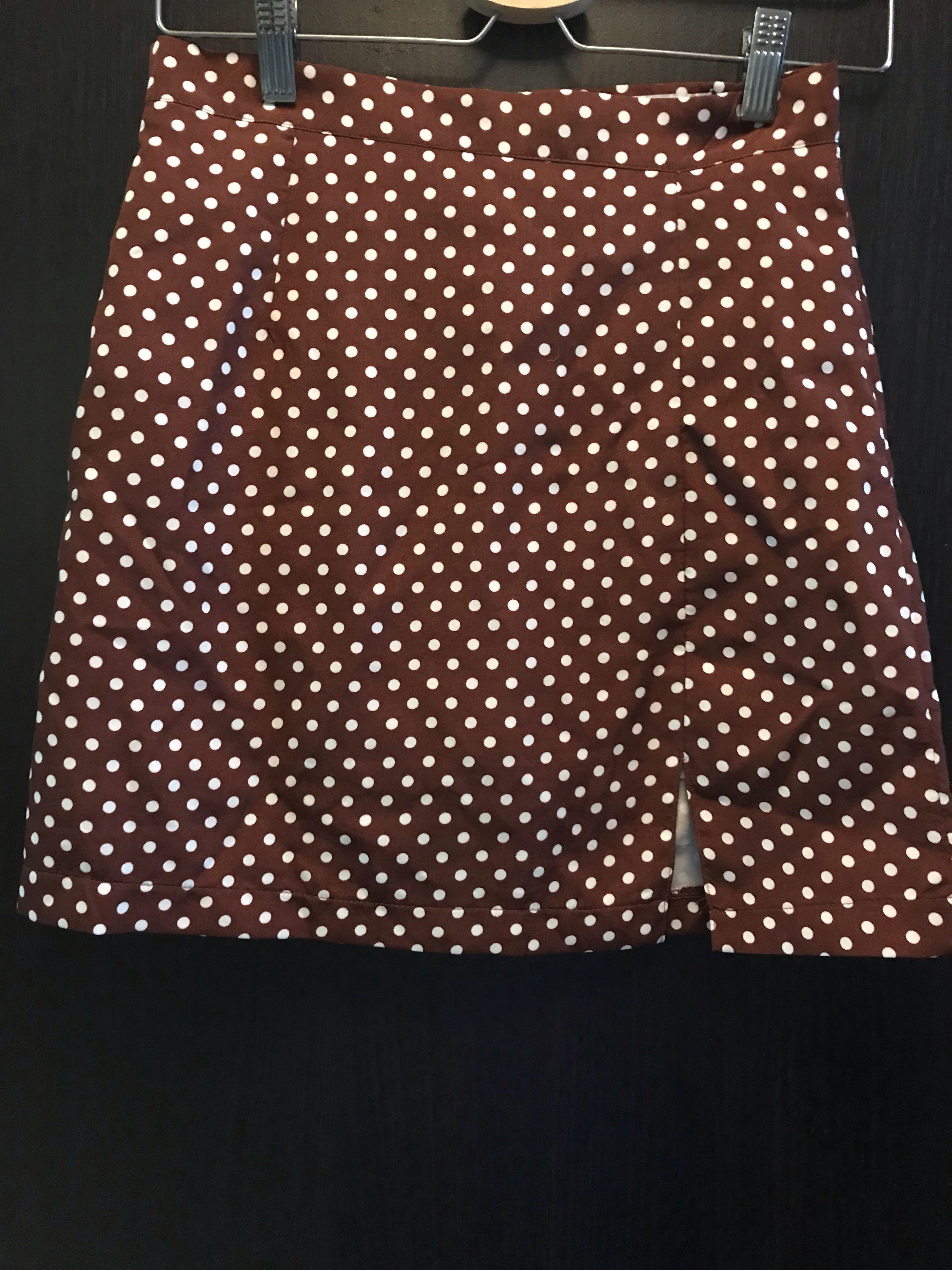 棗紅色波點半身裙 A字裙