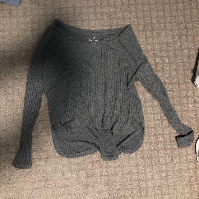 american eagle soft&sexy ribbed grey thin sweatshirt