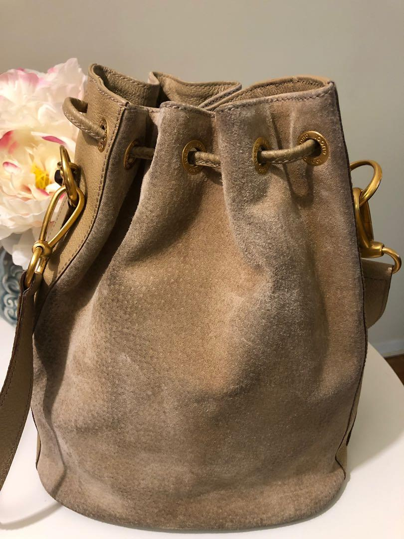 Authentic Gucci Bamboo Suede Bucket Bag