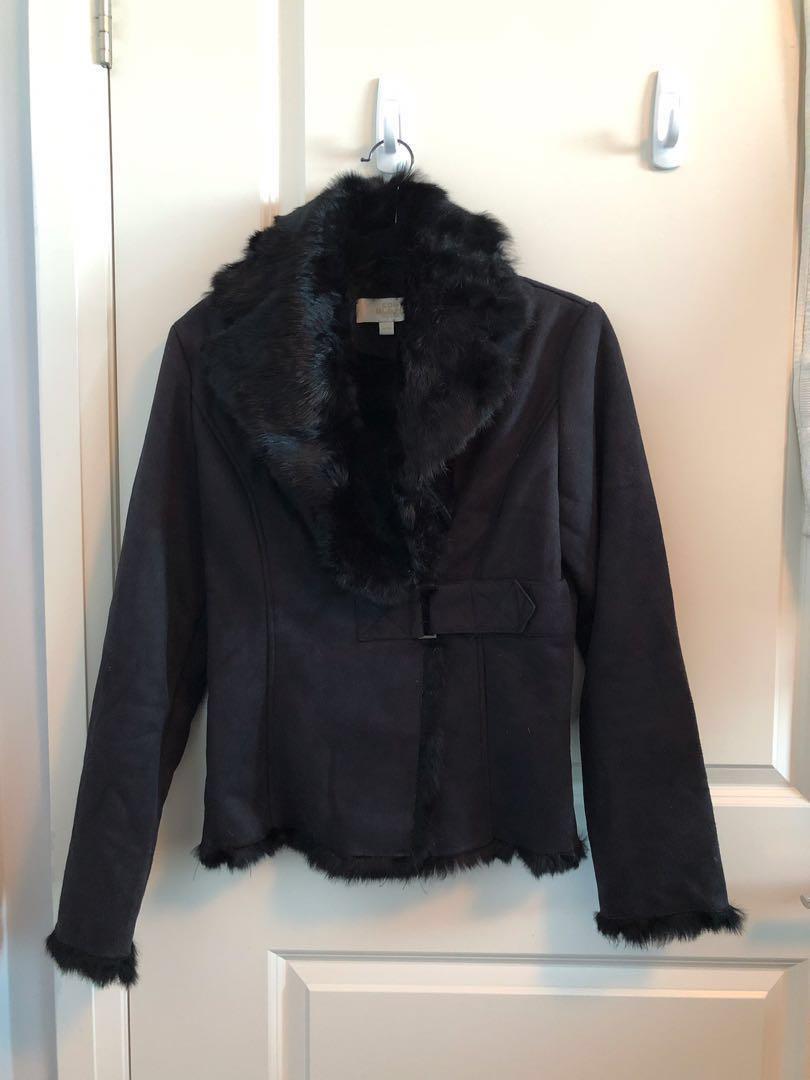 Black Rabbit Fur Ladies Jacket - Size Medium