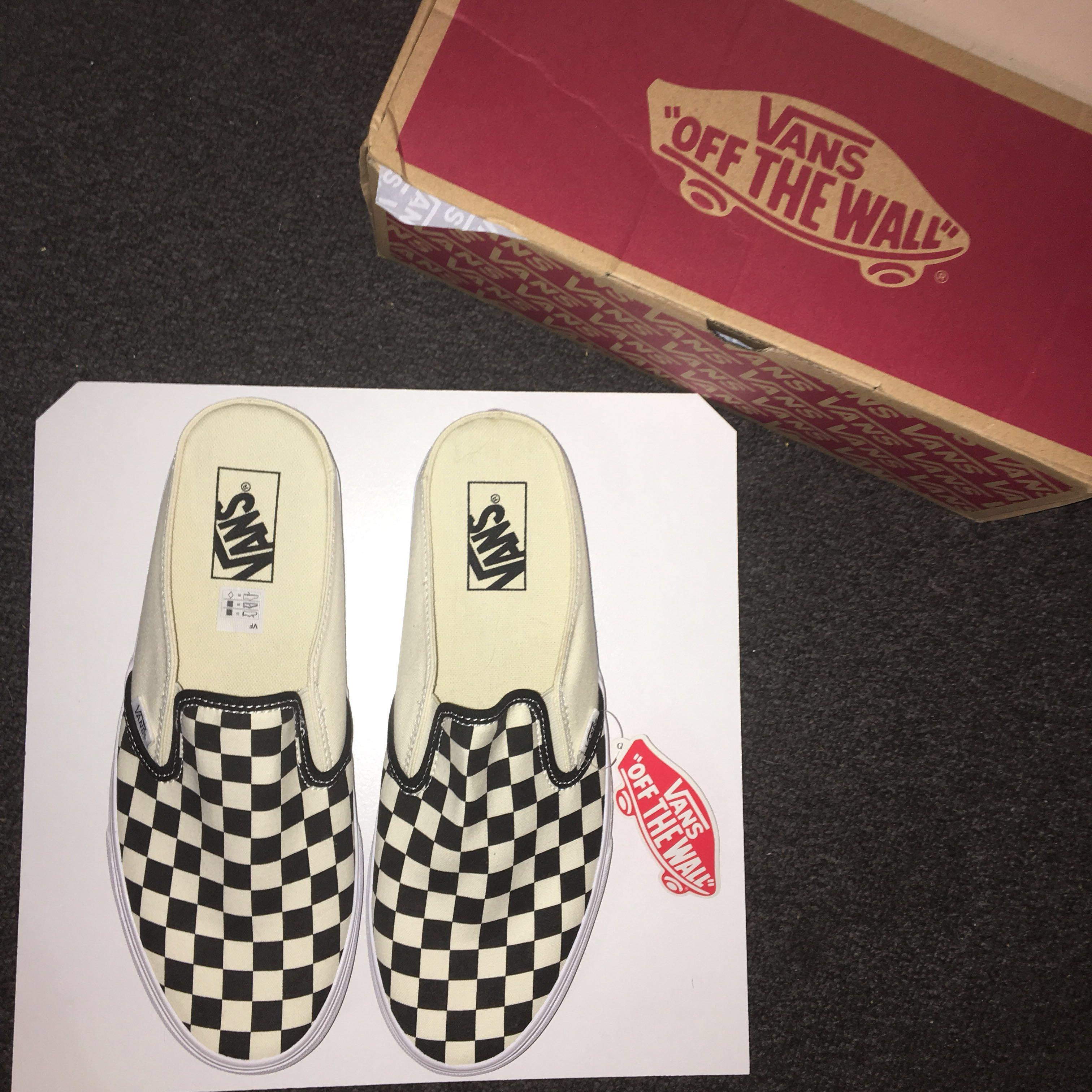 BRAND NEW! VANS Black & White Checkerboard Classic Slip-On Mules