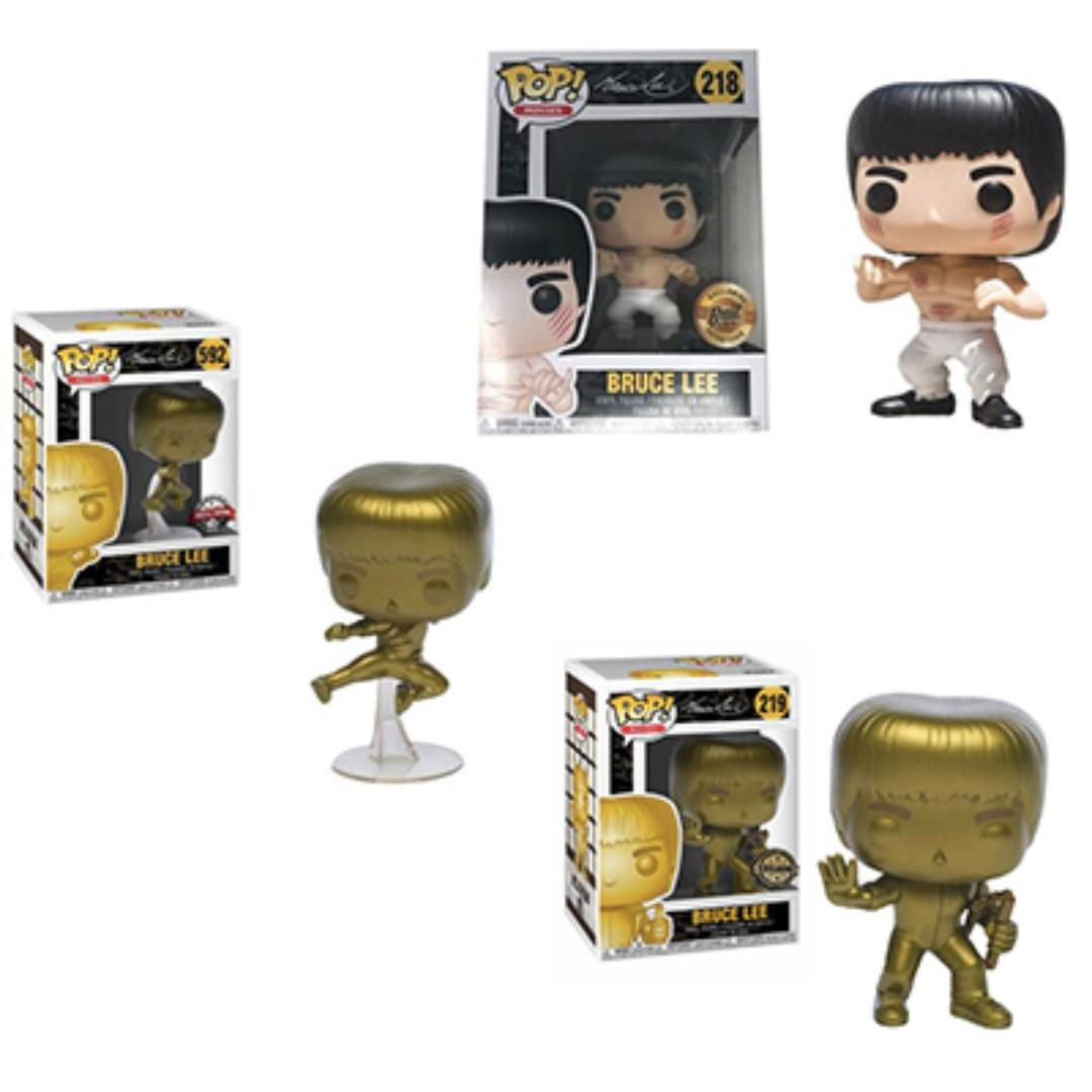 Bruce Lee Set of 3 - White Pants, Gold Nunchucks & Gold Flying Kick