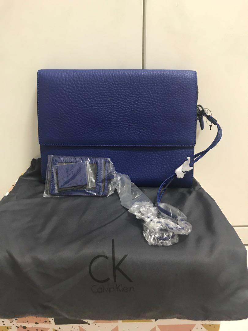 Calvin Klein Cobalt Blue Clutch w Card Holder