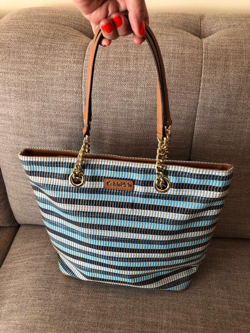 Calvin Klein Florence Blue Stripes Raffia Tote HandBag Purse with Zipper In great condition Only used once
