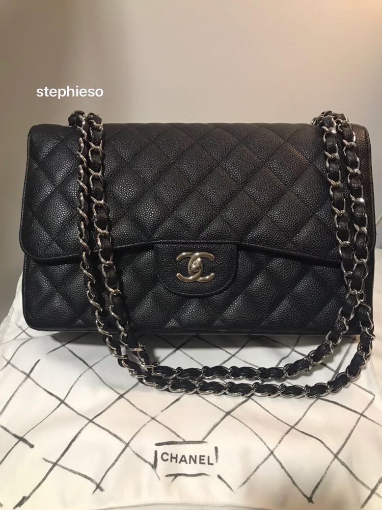 e5bddbbf4a9c Chanel double flap JUMBO - black caviar. phw., Women's Fashion, Bags ...
