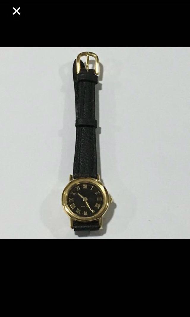 CLEARANCE SALES {Women's Fashion - Dress Watch} BN Classic 18K Gold Plated Genuine Leather Ladies Quartz Dress Watch