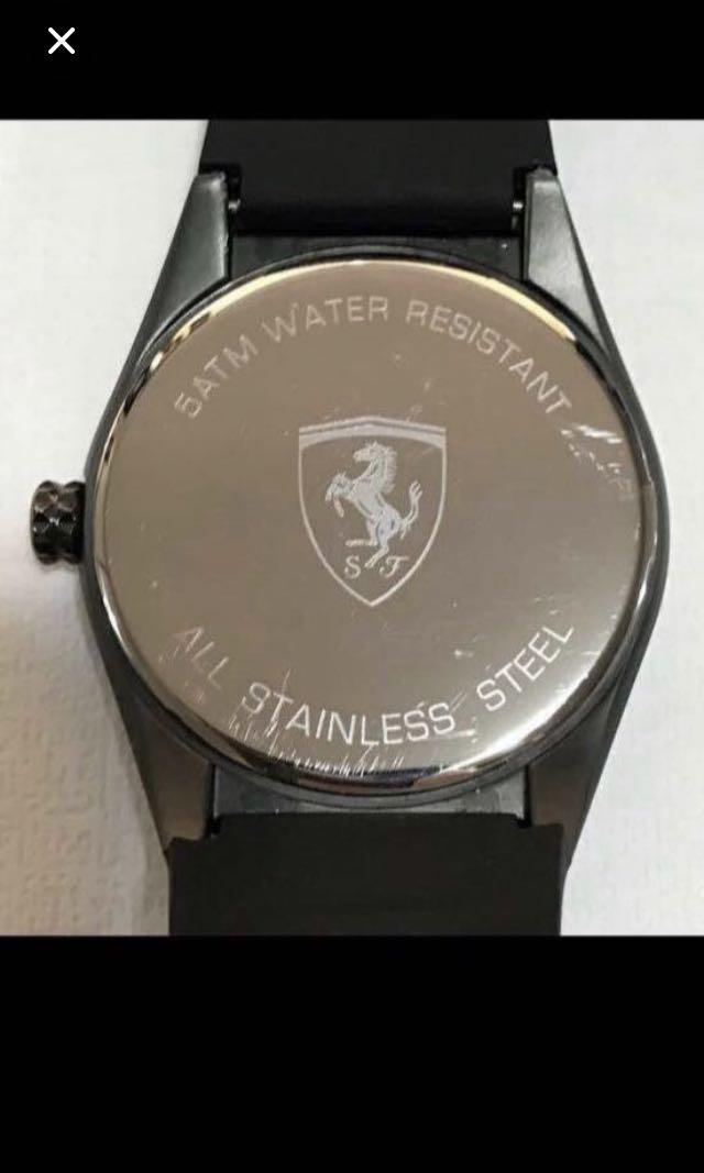 CLEARANCE SALY{Sports Gear - Sports Watch} Pre-loved Authentic Ferrari Brand Stainless Steel Case Unisex Sporty Quartz Watch