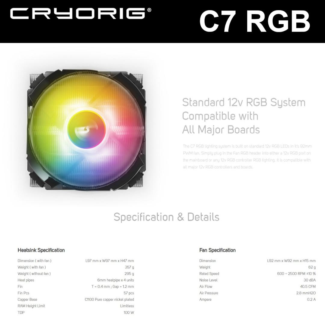 CRYORIG C7 RGB CPU COOLER LP HSF LOW PROFILE, Electronics