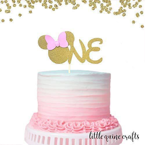 Cool Customised Minnie Mouse One Birthday Cake Topper Design Craft Funny Birthday Cards Online Elaedamsfinfo