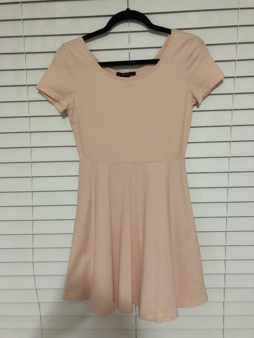Forever 21 - Light Pink Short-Sleeved Skater Dress
