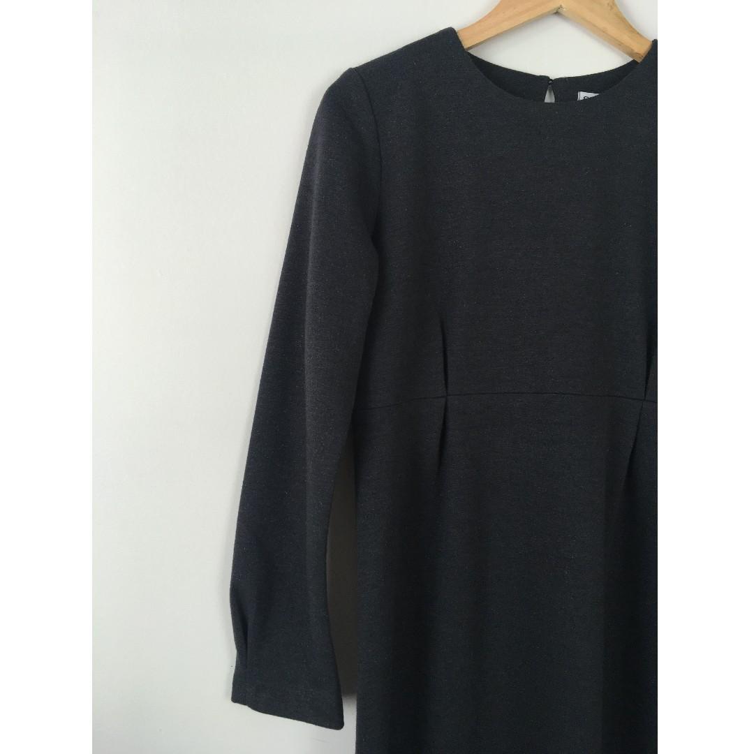 Full-Length Grey & Silver Jersey Knit Modesty Dress w/ pleated empire waist
