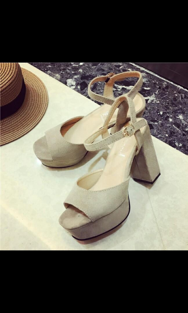 (NO INSTOCKS!) Preorder korean style Suede Ankle straps peep toe wedges block heels * waiting time 15 days after payment is made *pm to order