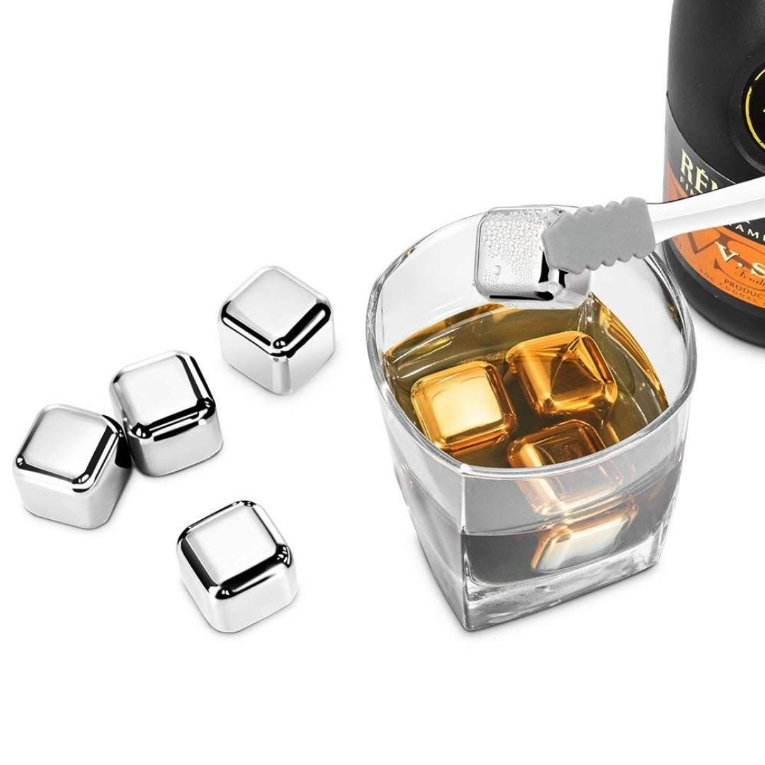 High Quality SUS304 Stainless Steel Ice Cubes Synerky Reusable Ice Cubes Stainless Steel Whiskey Stones for Non-diluting Cooling Vodka, Whiskey, Beer, Wine, Beverage Storage Tray Silicone Tip Tong Included Whiskey Ice Cubes