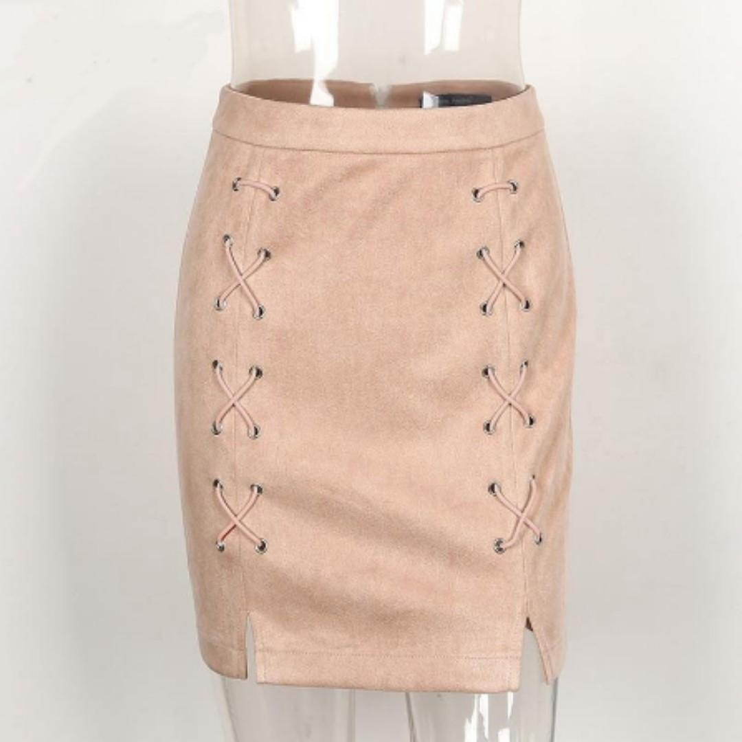 High-Waisted Suede Side Slit Lace Up Skirt (PO)