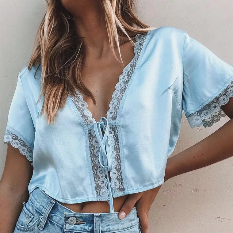 1511cb8269a INSTOCKS Lace Tie Front Top (Blue), Women's Fashion, Clothes, Tops ...