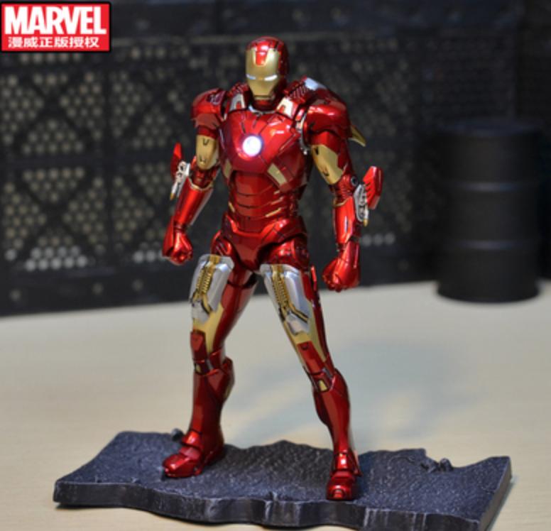 超合金金屬鋼鐵俠Ironman MK7復仇者可動發光玩具模型