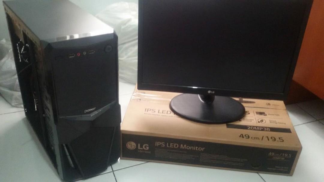Jual PC gaming plus monitor. No HDD, no CD room.
