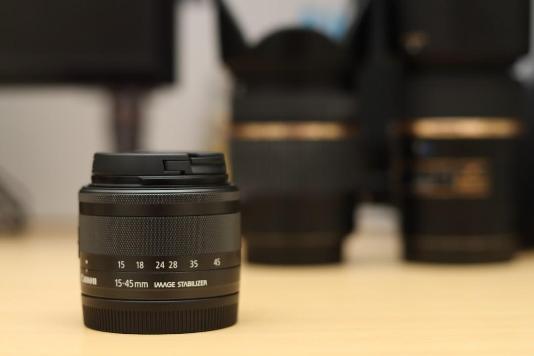 lensa canon eos m 15-45mm like new