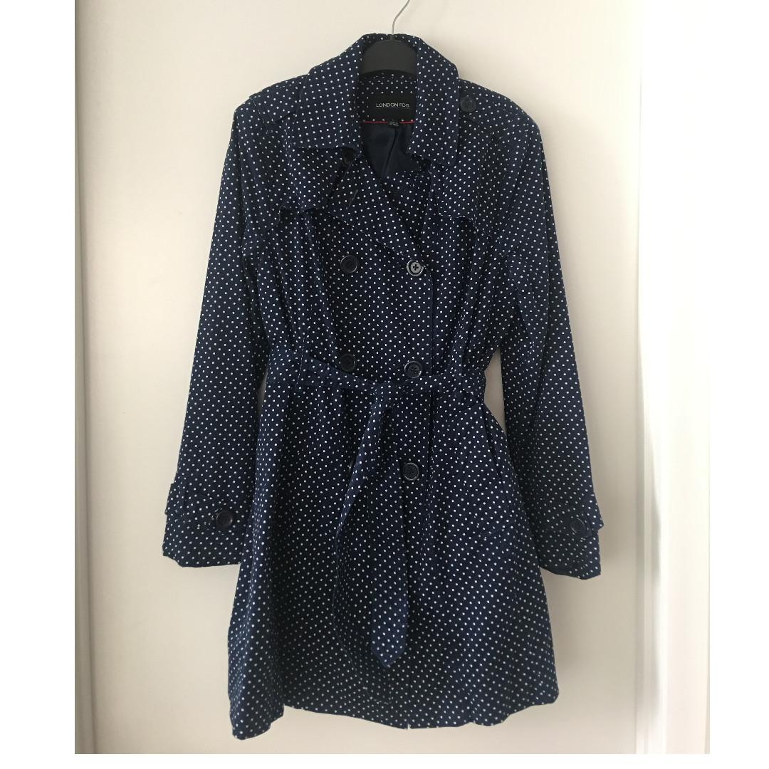 London Fog Navy Polka Dot Double Breasted Belted Trench Coat, L