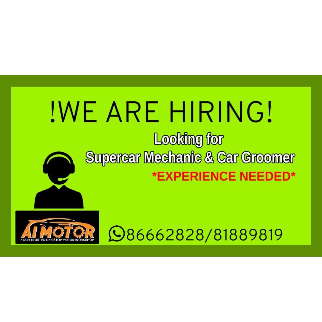 looking for Supercar Mechanic & Car Groomer!  HIRING 
