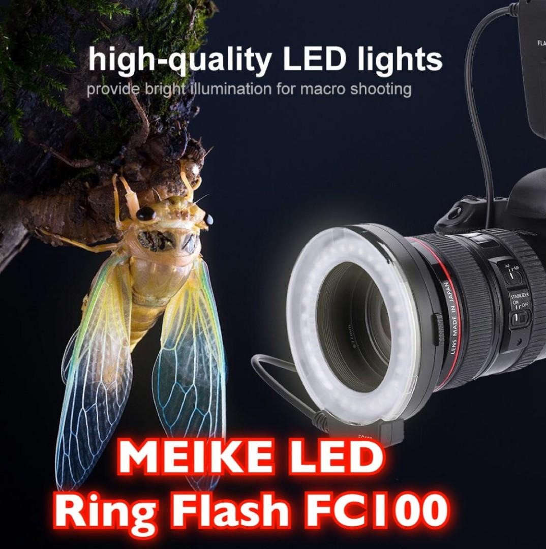 Meike FC100 Macro Ring Light Flash Comes with 7 Adapter Rings for  Canon Nikon For Sony
