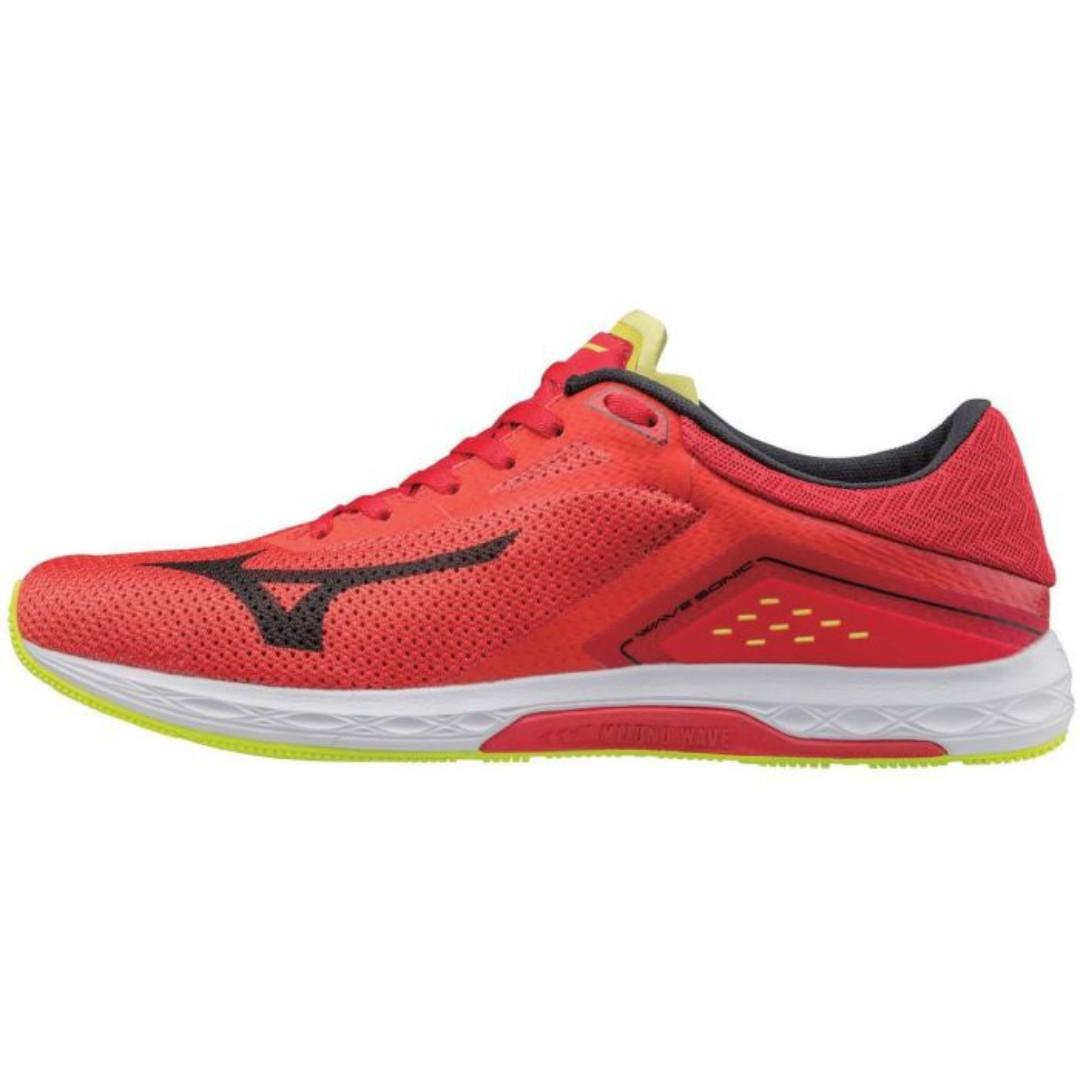 MIZUNO Men's Wave Sonic Running Shoes - Geriffin/Silver/Red Size US 10