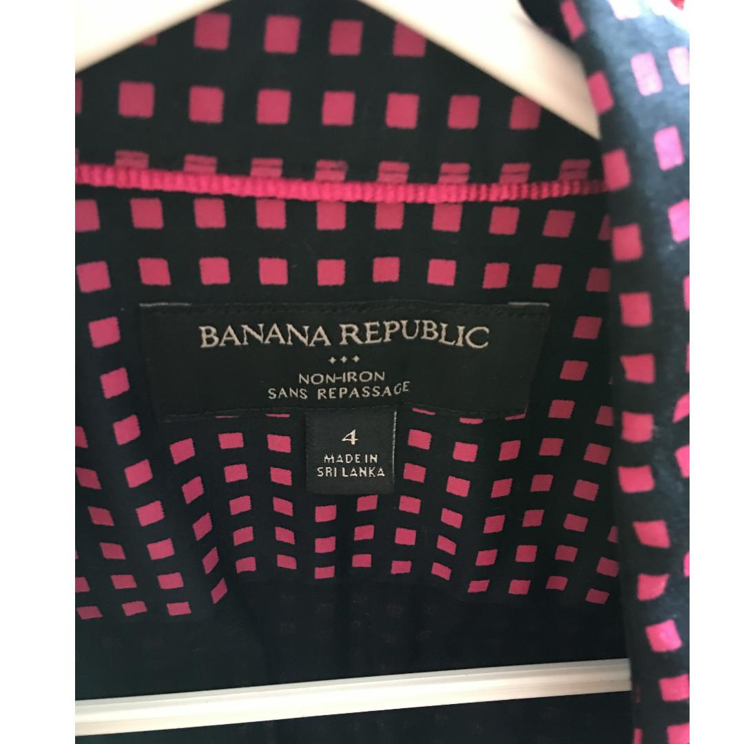 New Banana Republic Slim Fitted Non Iron Button Up Dress Shirt, size 4