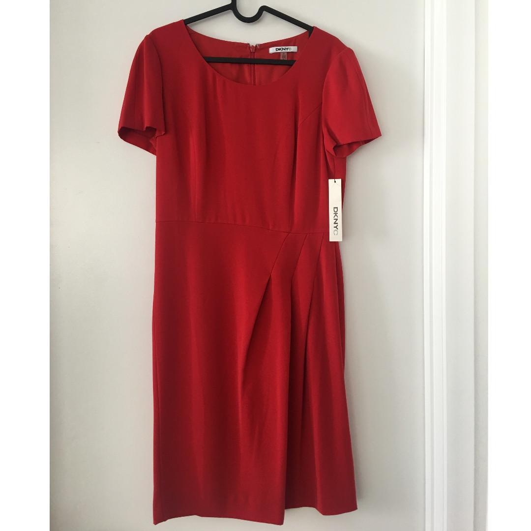 New DKNY Donna Karan formal office red dress size 6