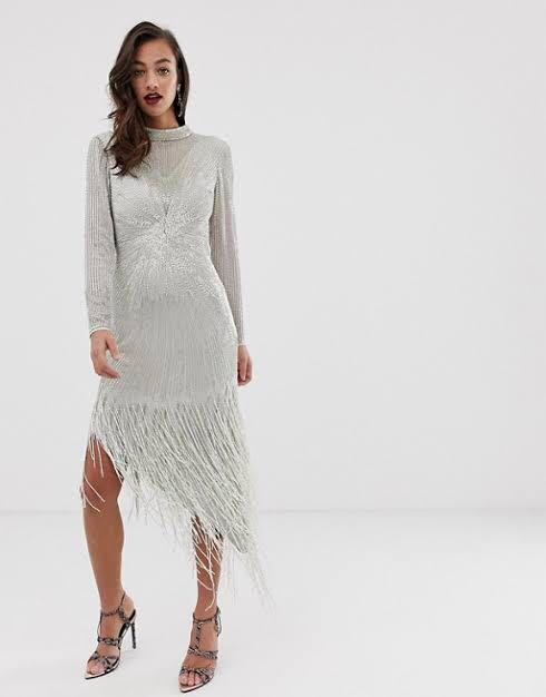 NEW White/silver heavily embellished fringe midi - 12