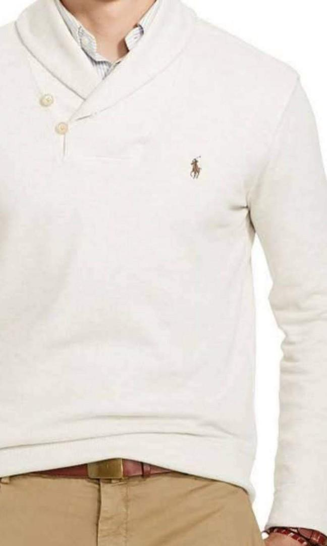Polo Ralph Lauren Shawl Collar High Neck Jumper Pullover Sweater with Suede Elbow Patches