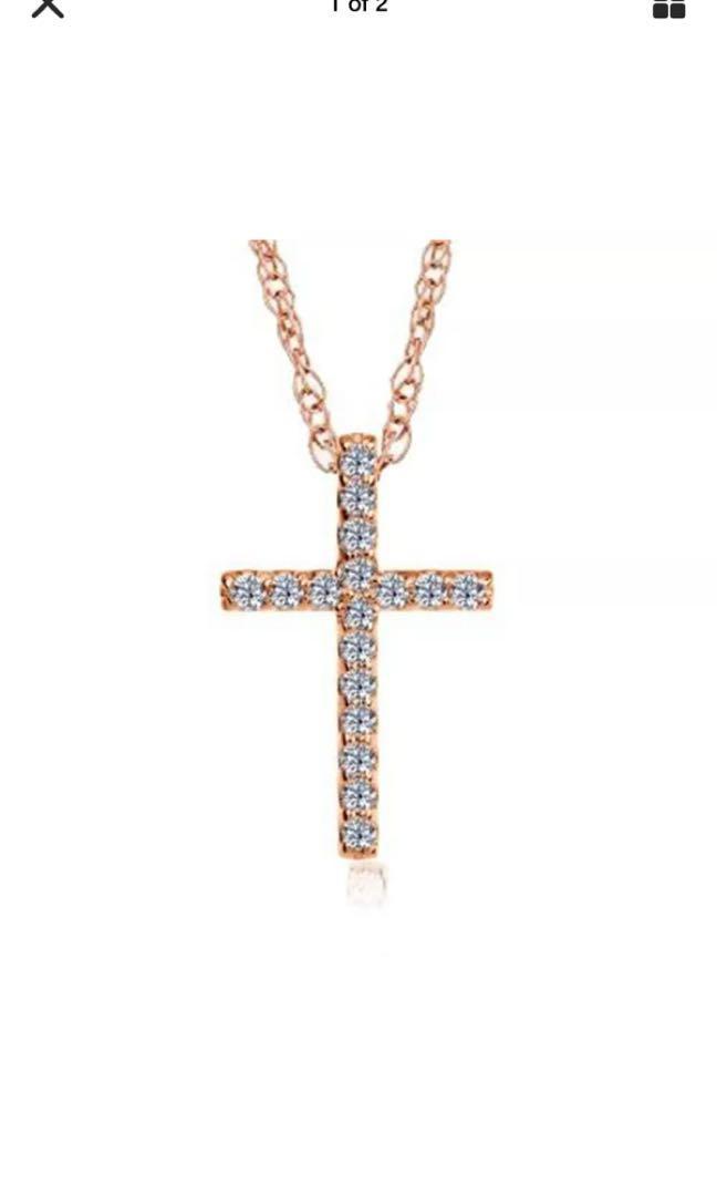 "Pompeii 1/10Ct Diamond Cross Pendant 14k Rose Gold 1/2"" Tall"