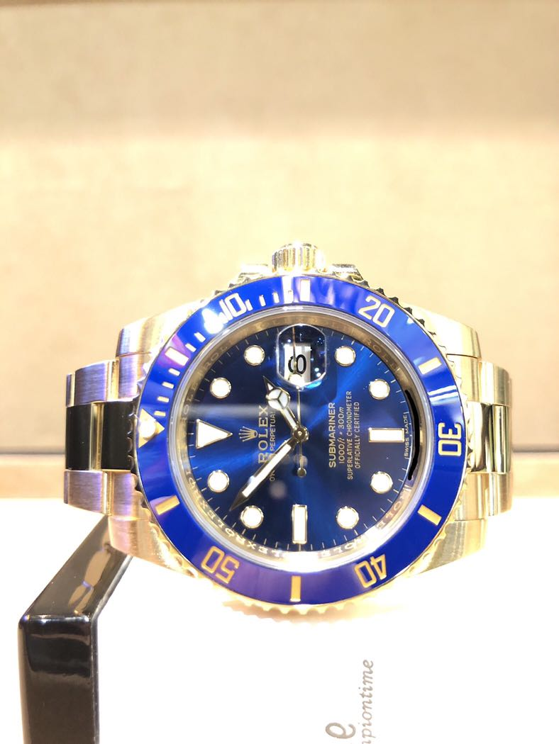 purchase cheap d062e 4950c Pre Owned Rolex Oyster Submariner 116618LB Blue Dial Automatic Yellow Gold  Casing Bracelet