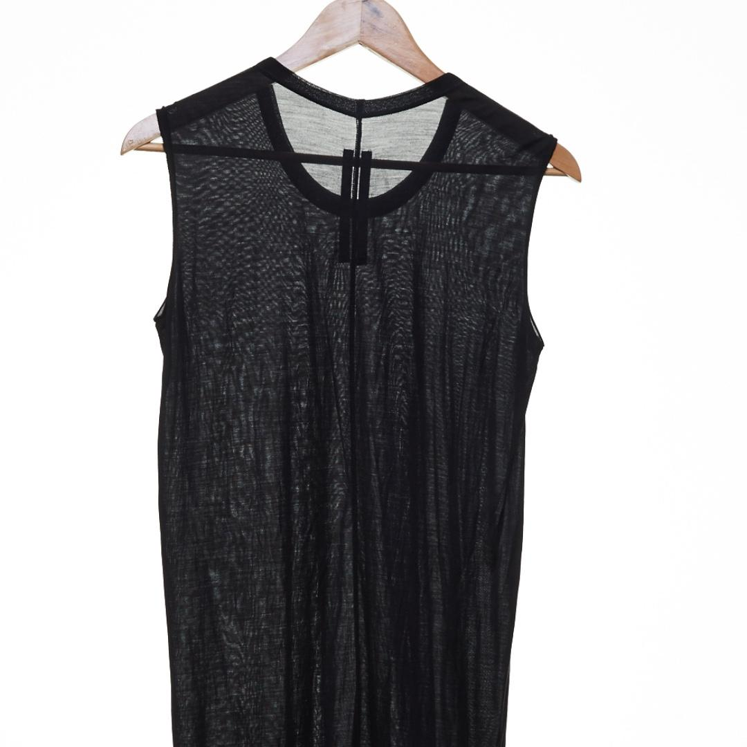 RICK OWENS Island SS13 Black Silk Singlet With Raw Edge
