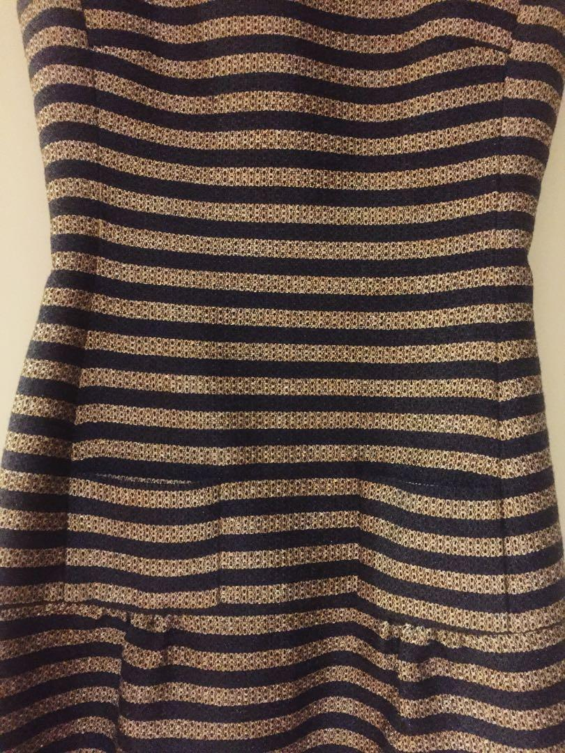 Sz 36 designer Hoss Intropia good/blue jacquard stripe dress