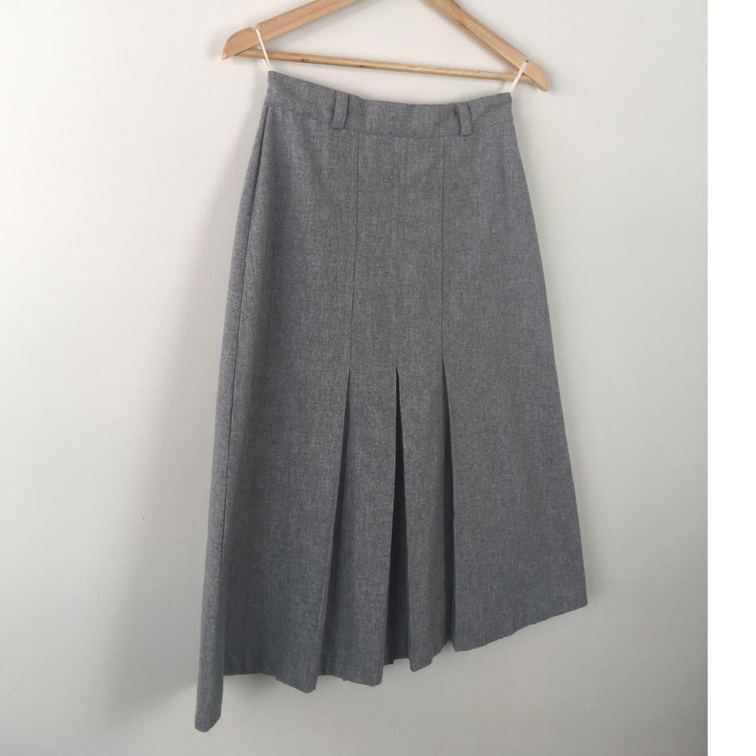 Vintage Basic Grey High-Waist Skirt Sz 12 Office Staple Front & Rear Pleats