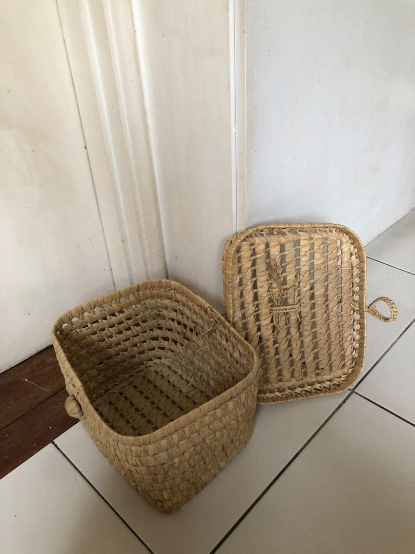 Wicker straw lunchbox bag