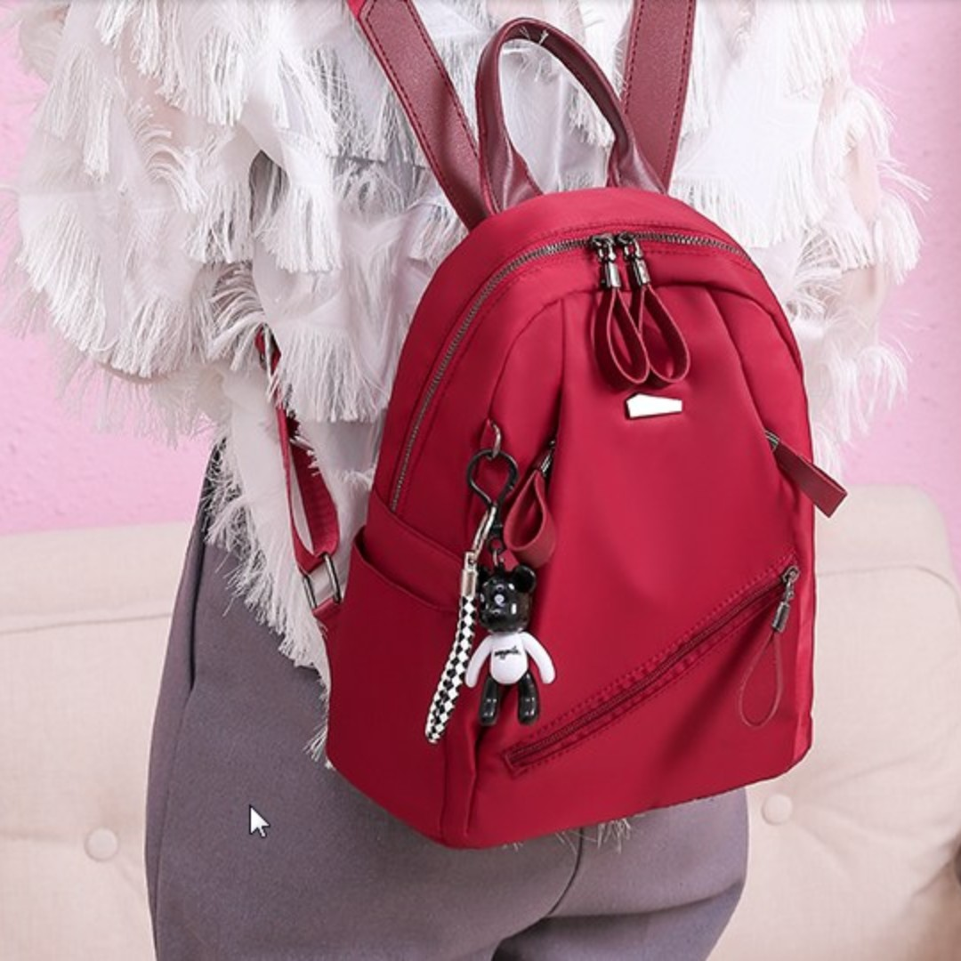 7fdd265bb45f Women Korean Fashion wild Fashion Oxford Cloth Casual Backpack  [Black/Red/Gray]