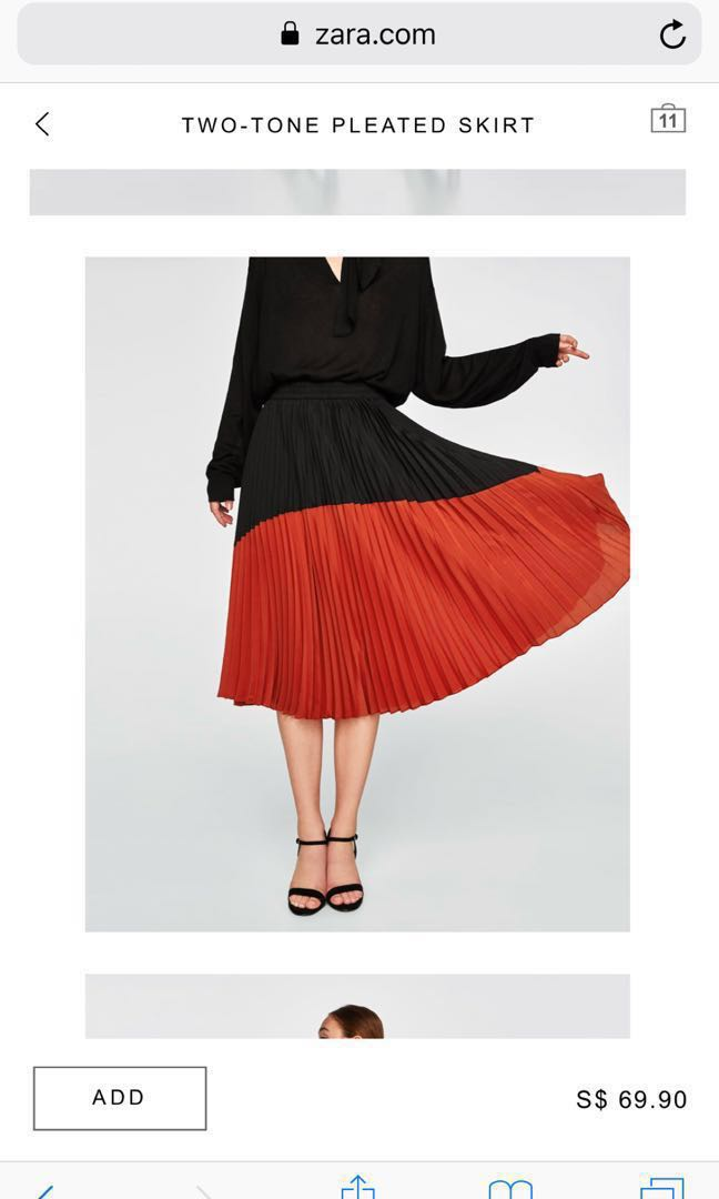 41d8b2aacd ZARA - Colour Block Pleated Midi Skirt, Women's Fashion, Clothes ...