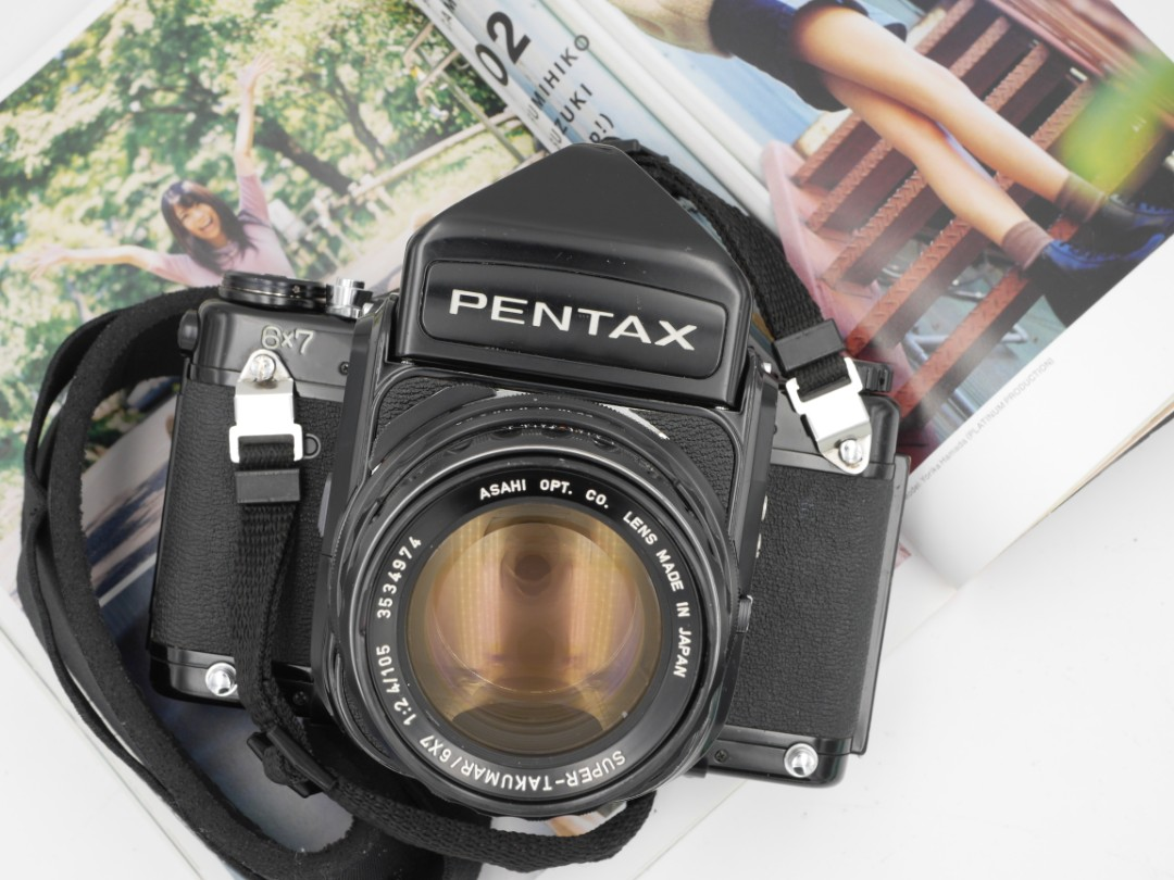 Pentax 67 + 105mm F2 4 + wooden grip [Professionally Serviced]
