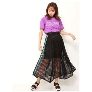 🚚 [全新]日本正品 Snidel 側邊條紋蕾絲不規則長裙